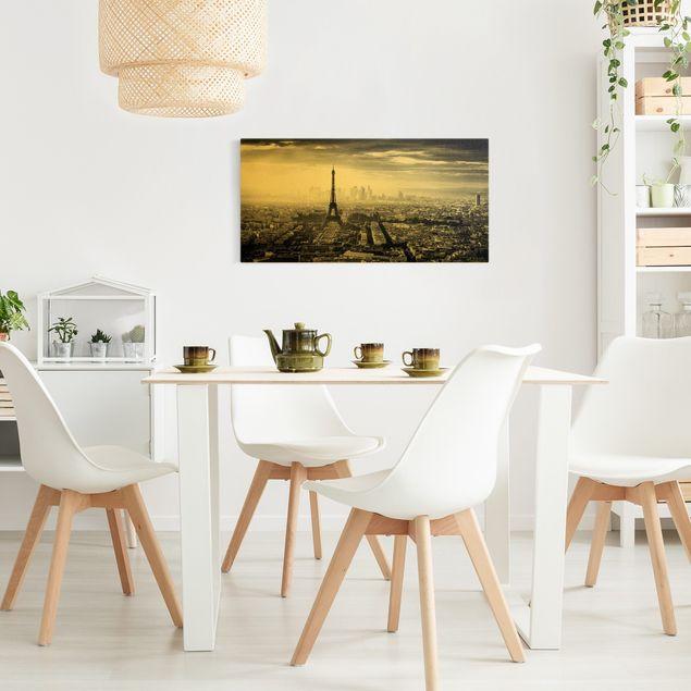 Leinwandbild Gold - Der Eiffelturm von Oben Schwarz-weiß - Querformat 2:1