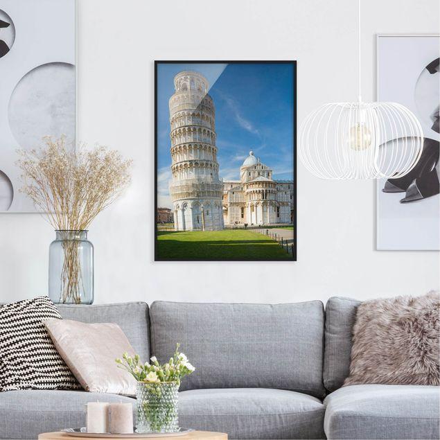 Bild mit Rahmen - Der schiefe Turm von Pisa - Hochformat 3:4