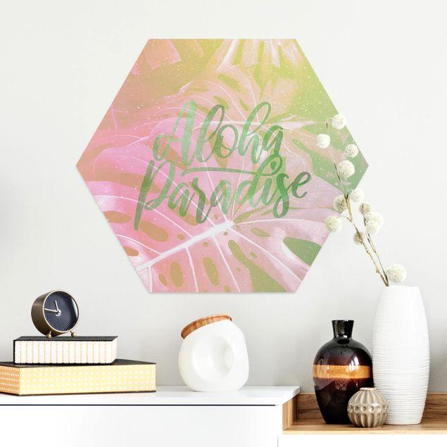Hexagon Bild Alu-Dibond - Rainbow - Aloha Paradise