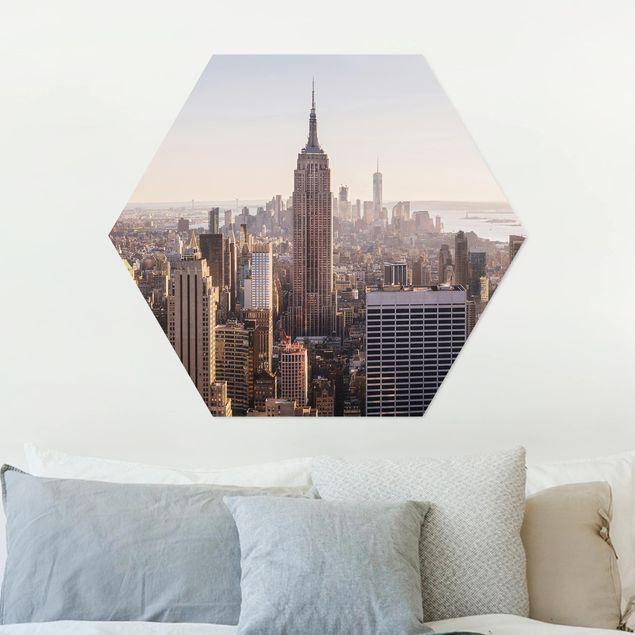 Hexagon Bild Alu-Dibond - Blick vom Top of the Rock