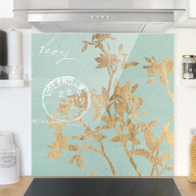 Glas Spritzschutz - Goldene Blätter auf Turquoise II - Quadrat - 1:1