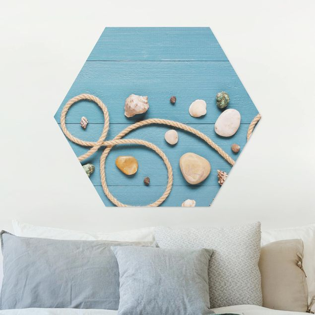 Hexagon Bild Alu-Dibond - Strandfunde