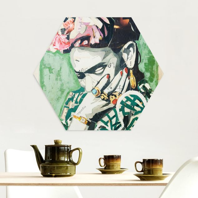 Hexagon Bild Alu-Dibond - Frida Kahlo - Collage No.3