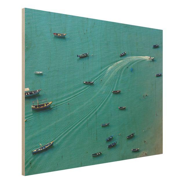 Holzbild - Ankernde Fischerboote - Querformat 3:4