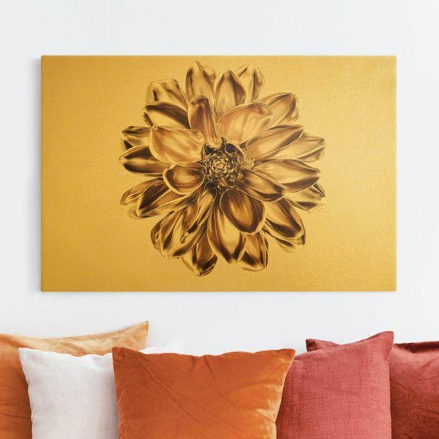 Leinwandbild Gold - Dahlie Blume Gold Metallic - Querformat 3:2