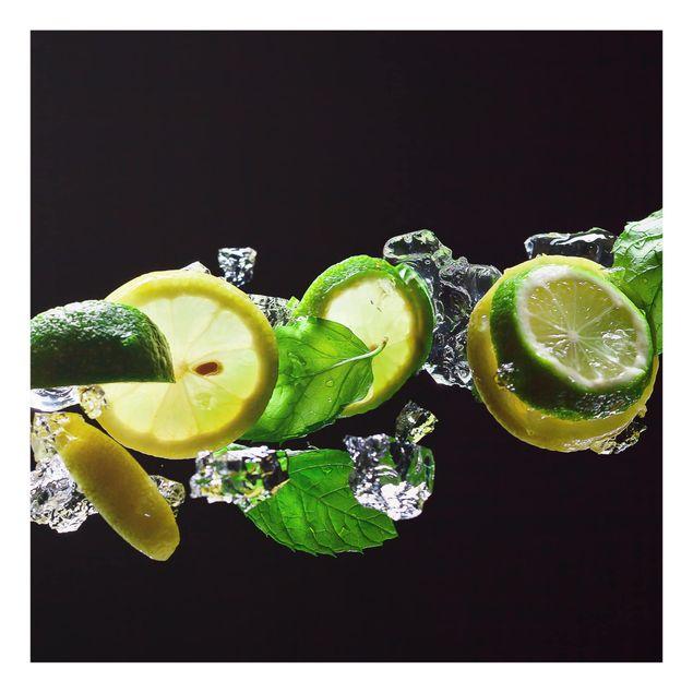 Glas Spritzschutz - Mojito Zutaten - Quadrat - 1:1