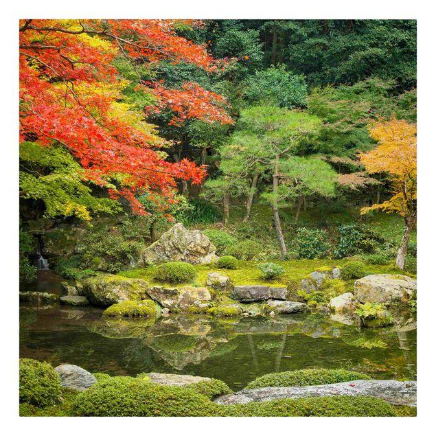 Leinwandbild - Japanischer Stadtpark - Quadrat 1:1