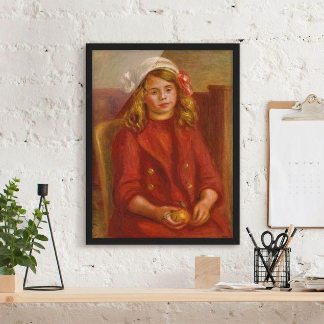 Bild mit Rahmen - Auguste Renoir - Junges Mädchen mit Orange - Hochformat 3:4