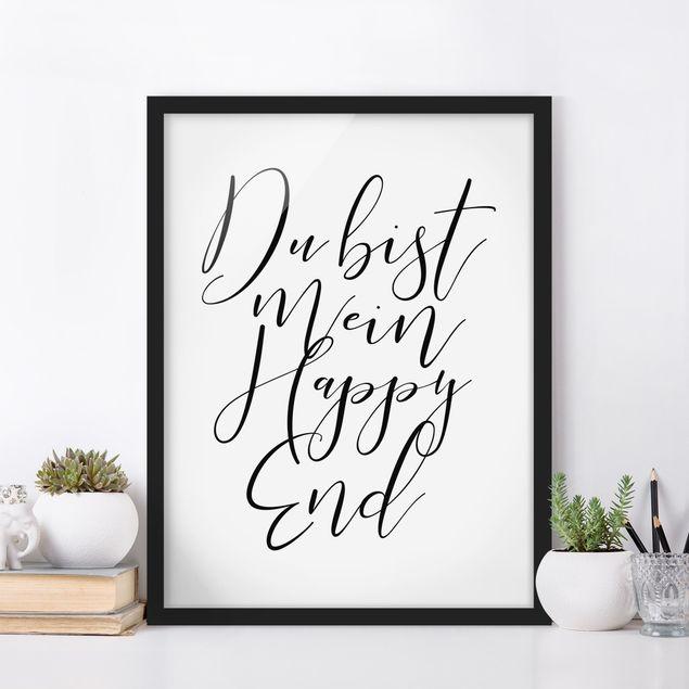 Bild mit Rahmen - Du bist mein Happy End - Hochformat 3:4