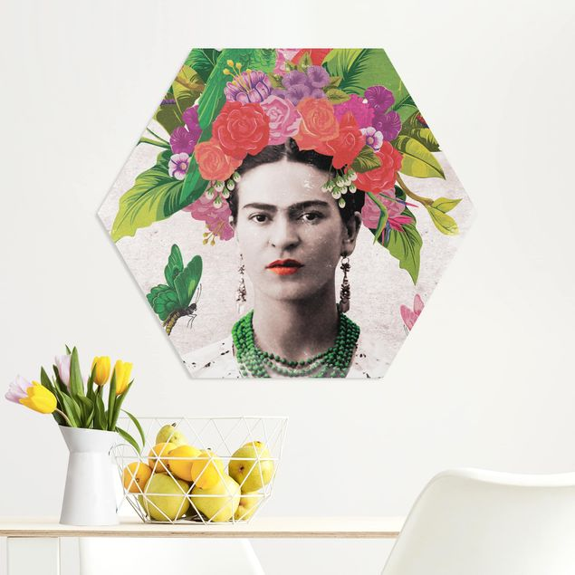 Hexagon Bild Forex - Frida Kahlo - Blumenportrait