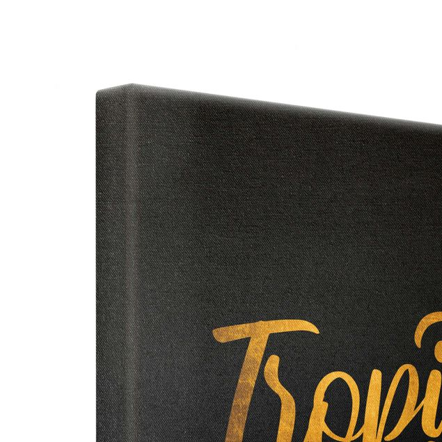 Leinwandbild Gold - Gold - Tropical Vibes auf Schwarz - Quadrat 1:1