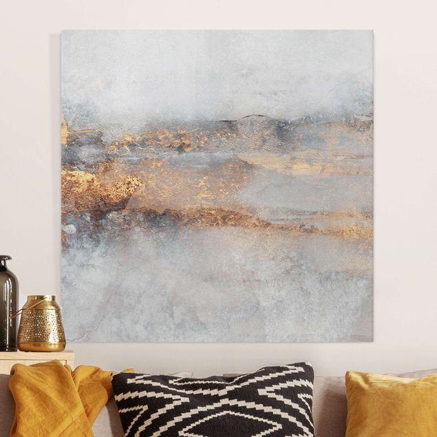 Leinwandbild - Elisabeth Fredriksson - Gold-Grauer Nebel - Quadrat 1:1