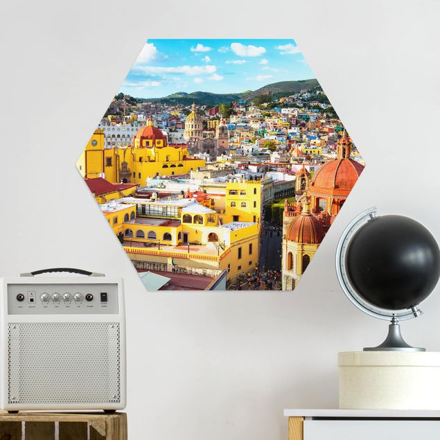 Hexagon Bild Alu-Dibond - Bunte Häuser Guanajuato