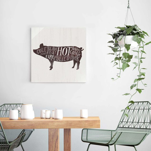 Glasbild - Bauernhof BBQ - Schwein - Quadrat 1:1