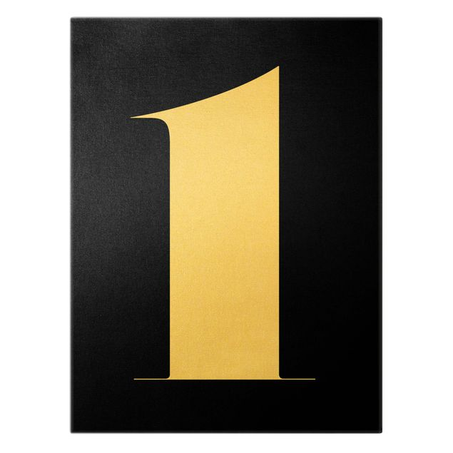 Leinwandbild Gold - Antiqua Zahl 1 - Hochformat 3:4