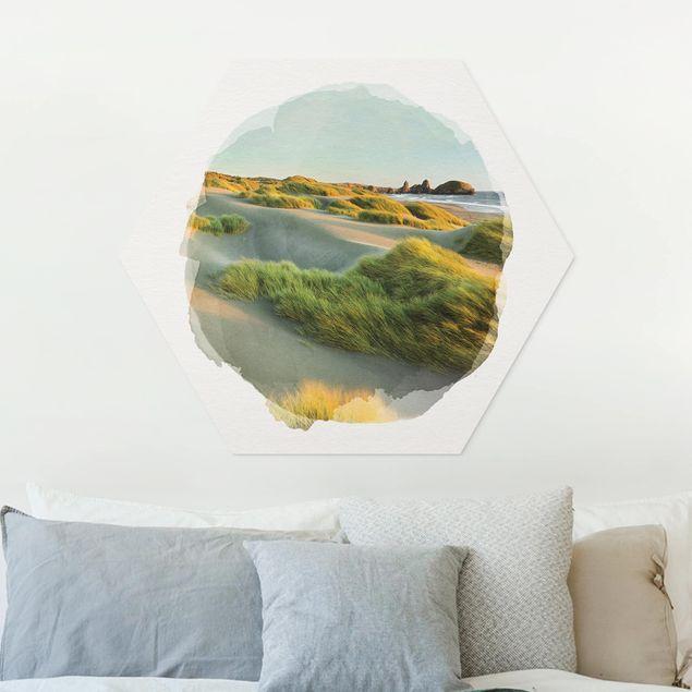 Hexagon Bild Forex - Wasserfarben - Dünen und Gräser am Meer
