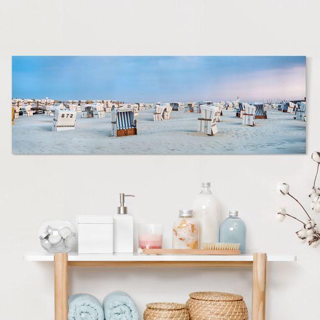 Leinwandbild - Strandkörbe an der Nordsee - Panorama 3:1