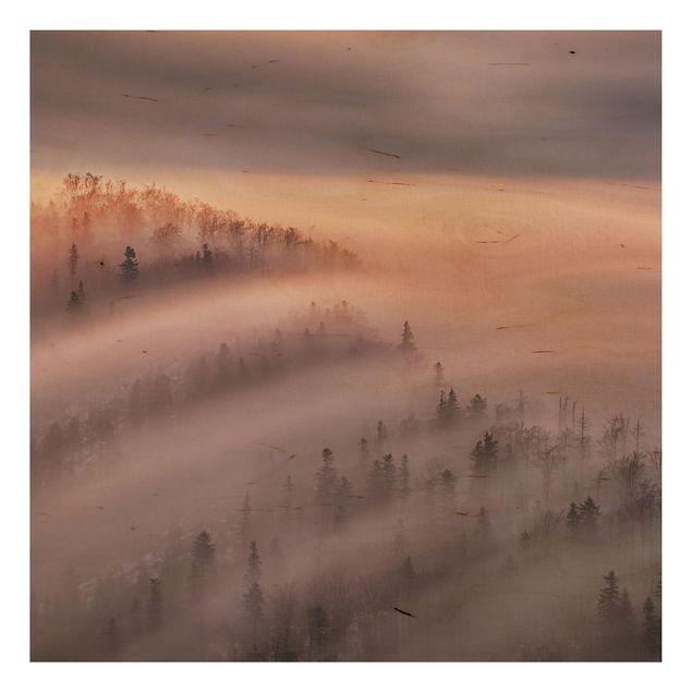 Holzbild - Nebelflut - Quadrat 1:1