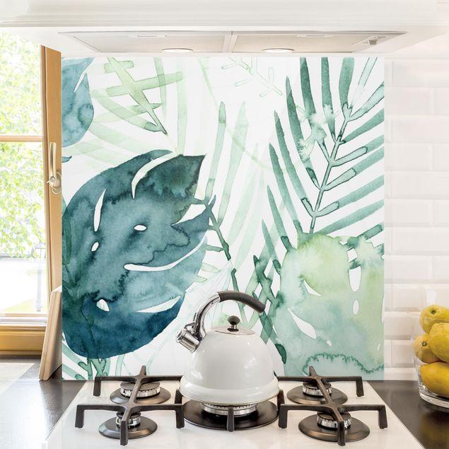 Glas Spritzschutz - Palmwedel in Wasserfarbe I - Quadrat - 1:1