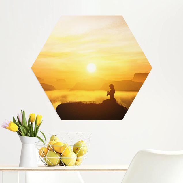 Hexagon Bild Alu-Dibond - Yoga Meditation