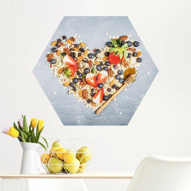 Hexagon Bild Alu-Dibond - Müsliherz