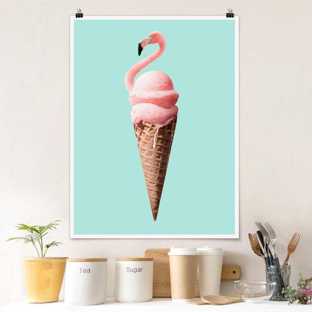 Poster - Jonas Loose - Eis mit Flamingo - Hochformat 3:4