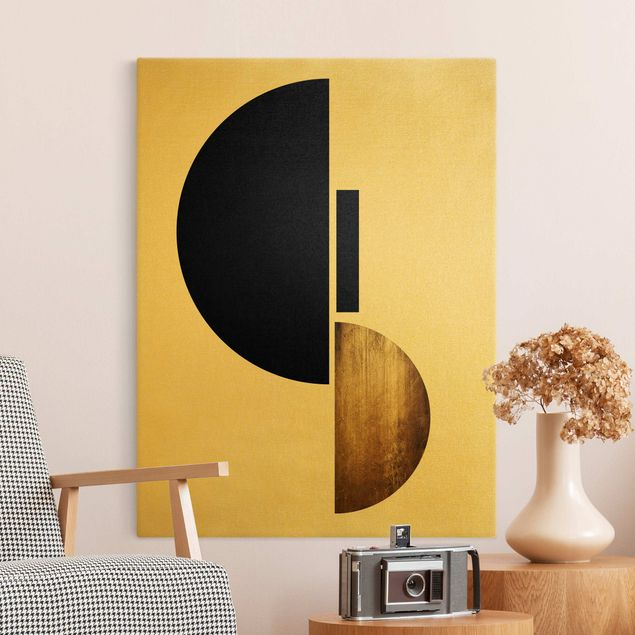 Leinwandbild Gold - Geometrischer Halbkreis I - Hochformat 3:4