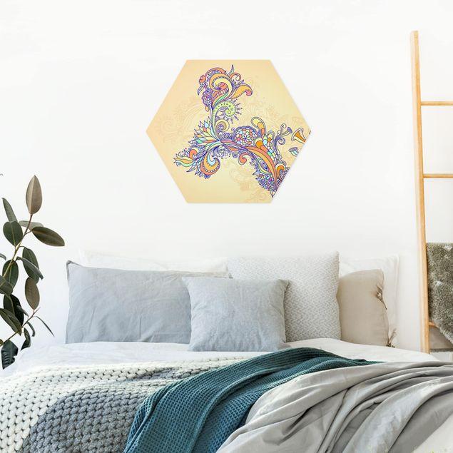 Hexagon Bild Alu-Dibond - Sommerillustration