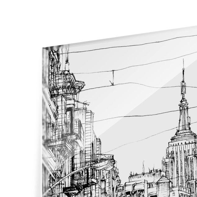 Glas Spritzschutz - Stadtstudie - Little Italy - Quadrat - 1:1
