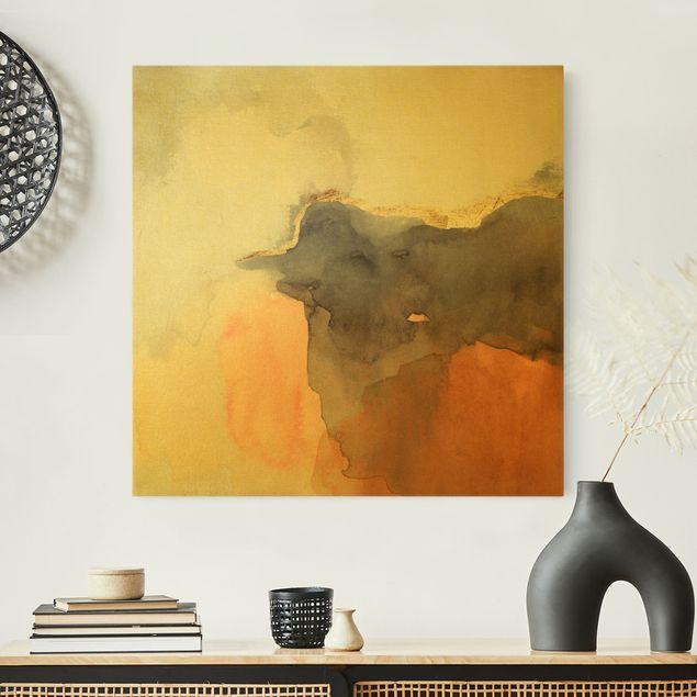 Leinwandbild Gold - Aquarell Goldene Spitze II - Quadrat 1:1