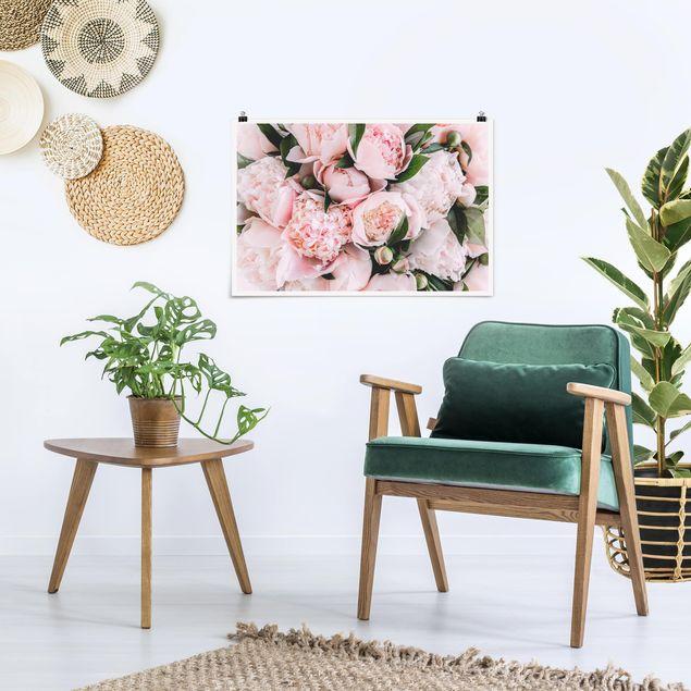 Poster - Rosa Pfingstrosen mit Blättern - Querformat 2:3
