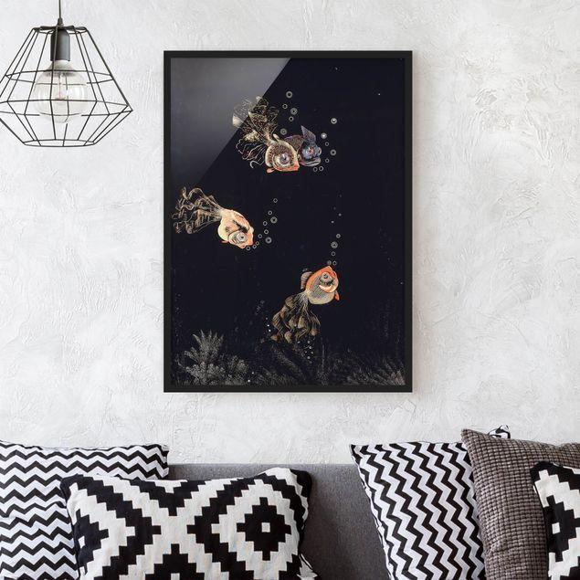 Bild mit Rahmen - Jean Dunand - Unterwasser Szene - Hochformat 3:4