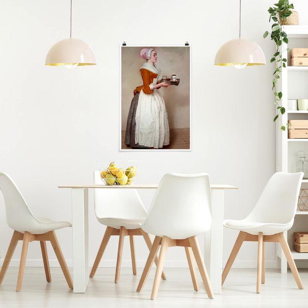 Poster - Jean Etienne Liotard - Das Schokoladenmädchen - Hochformat 3:2