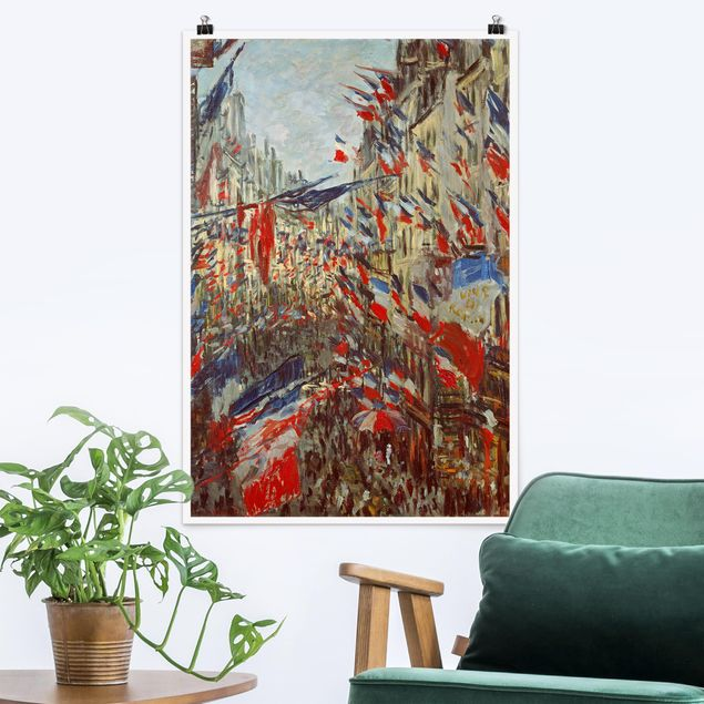 Poster - Claude Monet - Straße im Flaggenschmuck - Hochformat 3:2