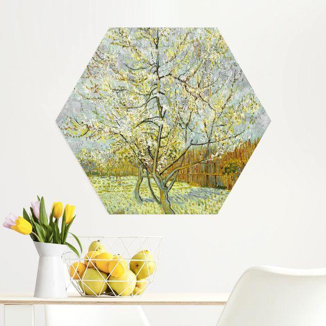 Hexagon Bild Alu-Dibond - Vincent van Gogh - Pfirsichbaum rosa