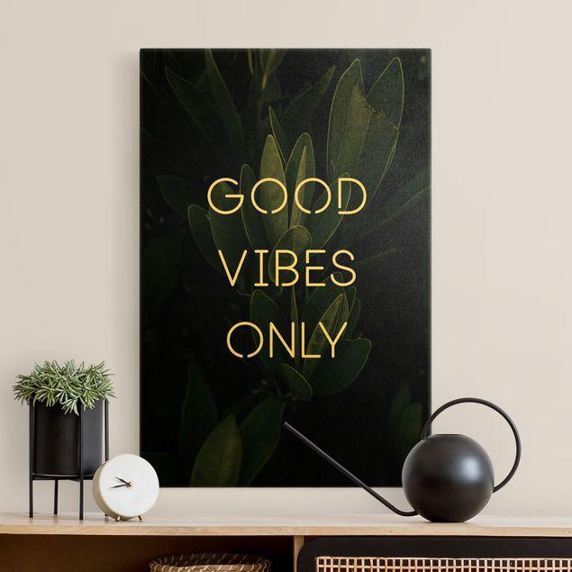 Leinwandbild Gold - Good Vibes Only Tropical - Hochformat 2:3