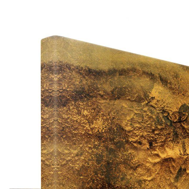 Leinwandbild Gold - Goldener Marmor gemalt - Querformat 3:2