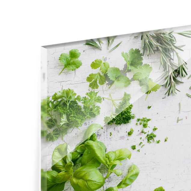 Glas Spritzschutz - Kräuter auf Holz Shabby - Querformat - 4:3