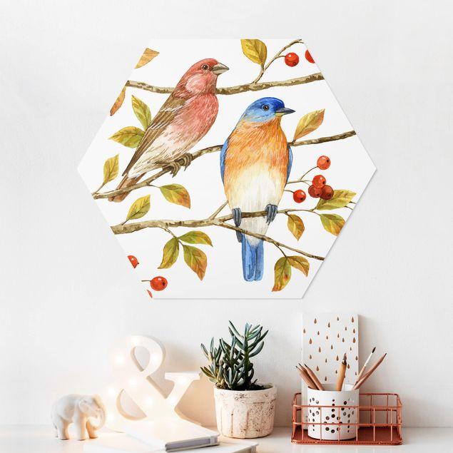 Hexagon Bild Forex - Vögel und Beeren - Hüttensänger