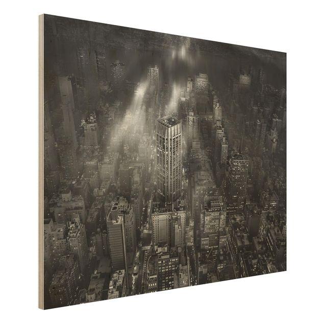 Holzbild - Sonnenlicht über New York City - Querformat 3:4