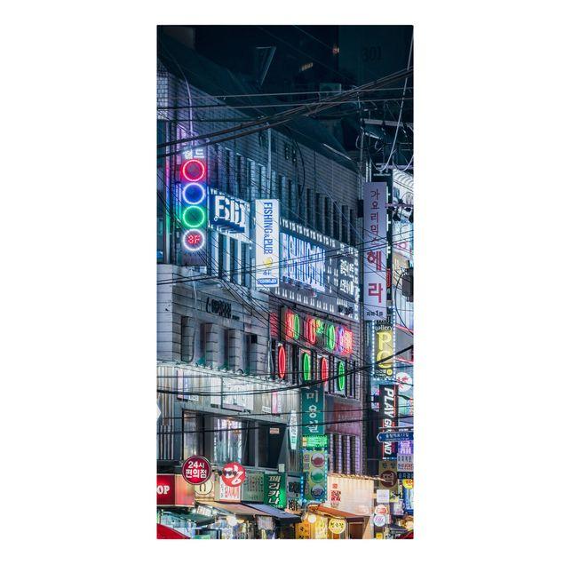 Leinwandbild - Nachtleben von Seoul - Hochformat 1:2