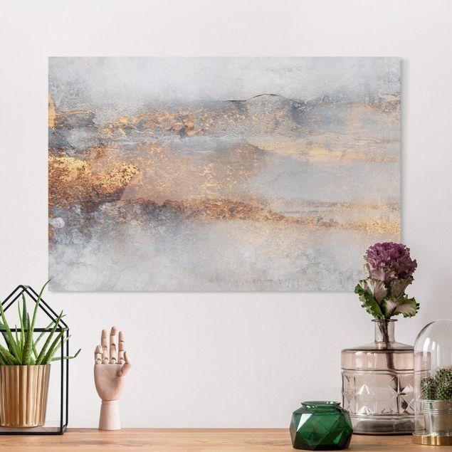 Leinwandbild - Elisabeth Fredriksson - Gold-Grauer Nebel - Querformat 3:2