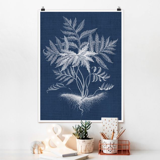 Poster - Denim Pflanzenstudie IV - Hochformat 3:4