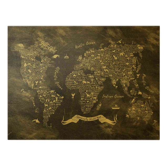 Leinwandbild Gold - Kreide Typografie Weltkarte - Querformat 4:3
