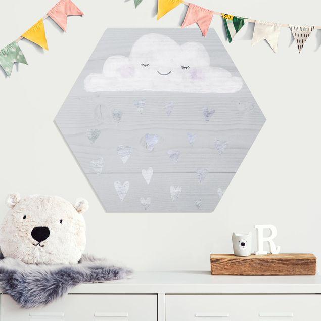 Hexagon Bild Forex - Wolke mit silbernen Herzen
