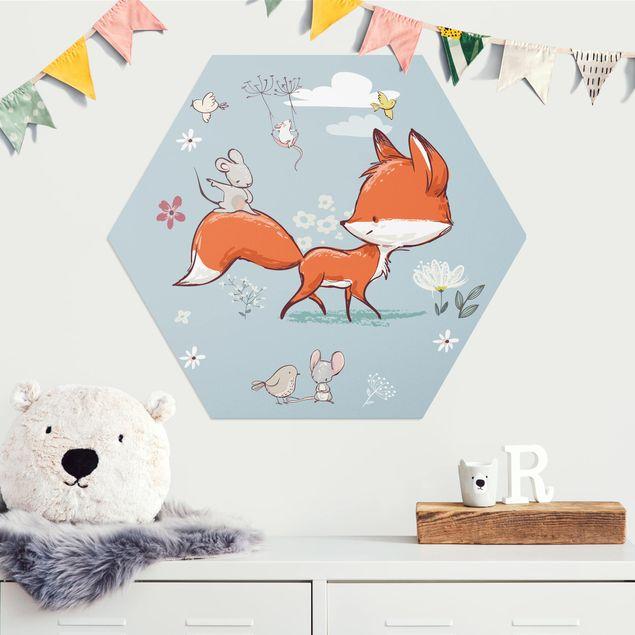 Hexagon Bild Alu-Dibond - Fuchs und Maus auf Wanderschaft
