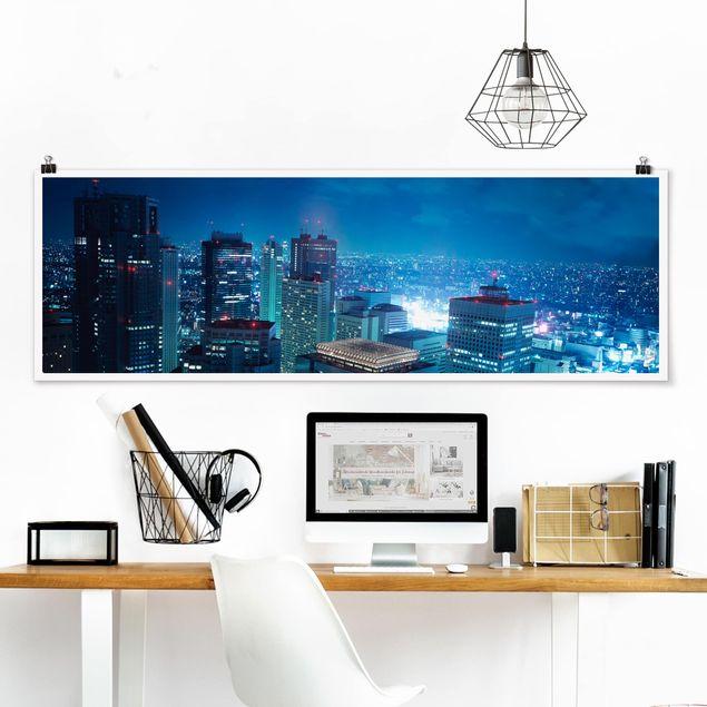 Poster - Die Atmosphäre Tokios - Panorama Querformat