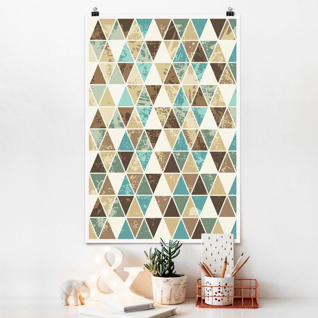 Poster - Dreieck Rapportmuster - Hochformat 3:2