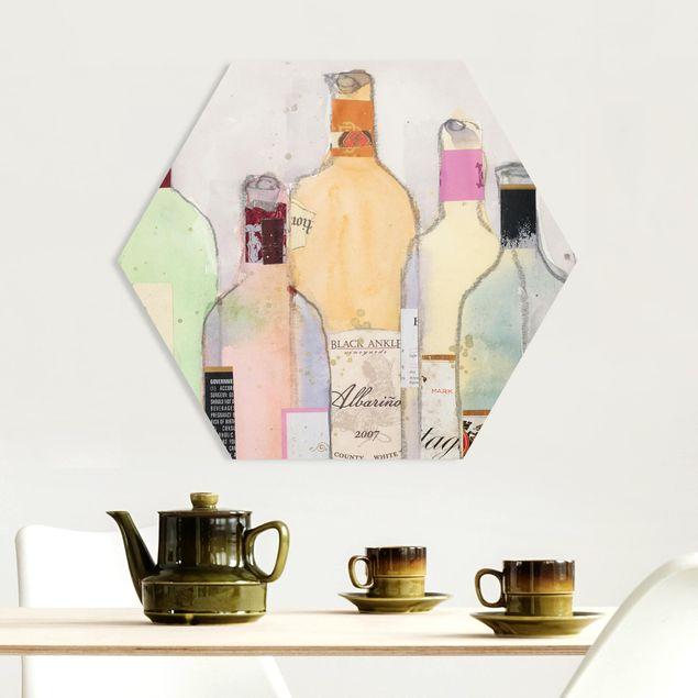 Hexagon Bild Forex - Weinflaschen in Wasserfarbe II
