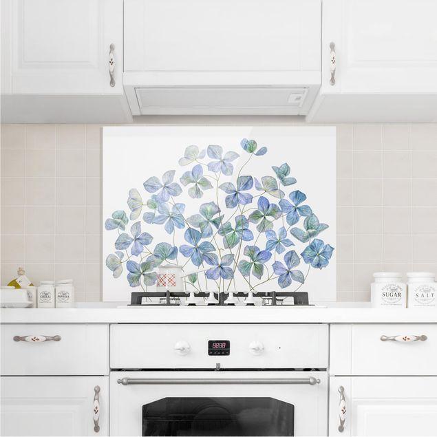 Glas Spritzschutz - Blaue Hortensienblüten - Querformat - 4:3